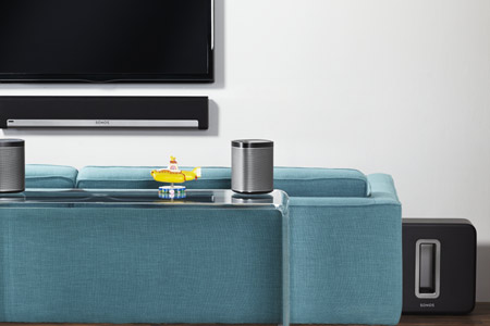 Het systeem for Sonos woonkamer opstelling